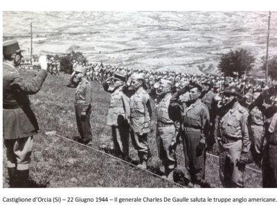 castiglione d'orcia- 22 giugno 1944 - truppe anglo americane con generale de gaulle